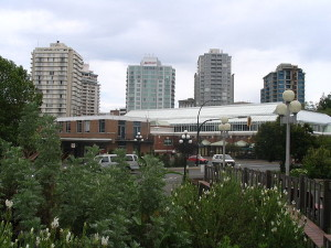Part of Victoria's skyline in May 2006 from Thunderbird Park.