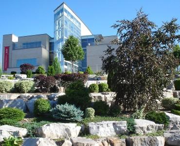 Art Gallery of Windsor overlooking riverfront rock gardens