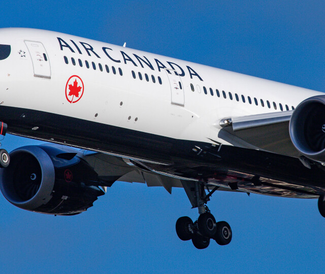 Air Canada Boeing 787-9 Dreamliner aircraft landing at London Heathrow International Airport LHR EGLL during a blue sky summer day in England, UK, on 2 August 2019. The airplane that is on final approach before the runway has 2x GEnx-1B jet engines and has the registration C-FVLQ. Air Canada AC ACA is the flag carrier and largest airline carrier of Canada and is a Star Alliance aviation alliance member. The airline connects the British capital to Calgary, Halifax, Montréal Trudeau, Ottawa, St. John's, Toronto Pearson and Vancouver airports. (Photo by Nicolas Economou/NurPhoto via Getty Images)